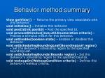 behavior method summary