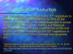 appropriation reduction