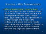 summary affine transformations