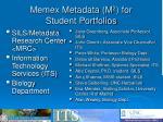 memex metadata m 2 for student portfolios1