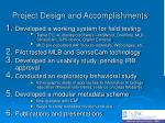 project design and accomplishments