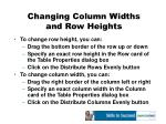 changing column widths and row heights