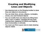 creating and modifying lines and objects