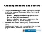 creating headers and footers