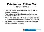 entering and editing text in columns