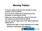 moving tables