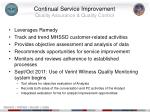 continual service improvement quality assurance quality control