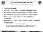 continual service improvement quality assurance quality control