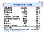 industry p e ratios