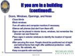 if you are in a building continued