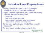 individual level preparedness
