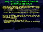 may 2005 commitments towards achieving the mdgs