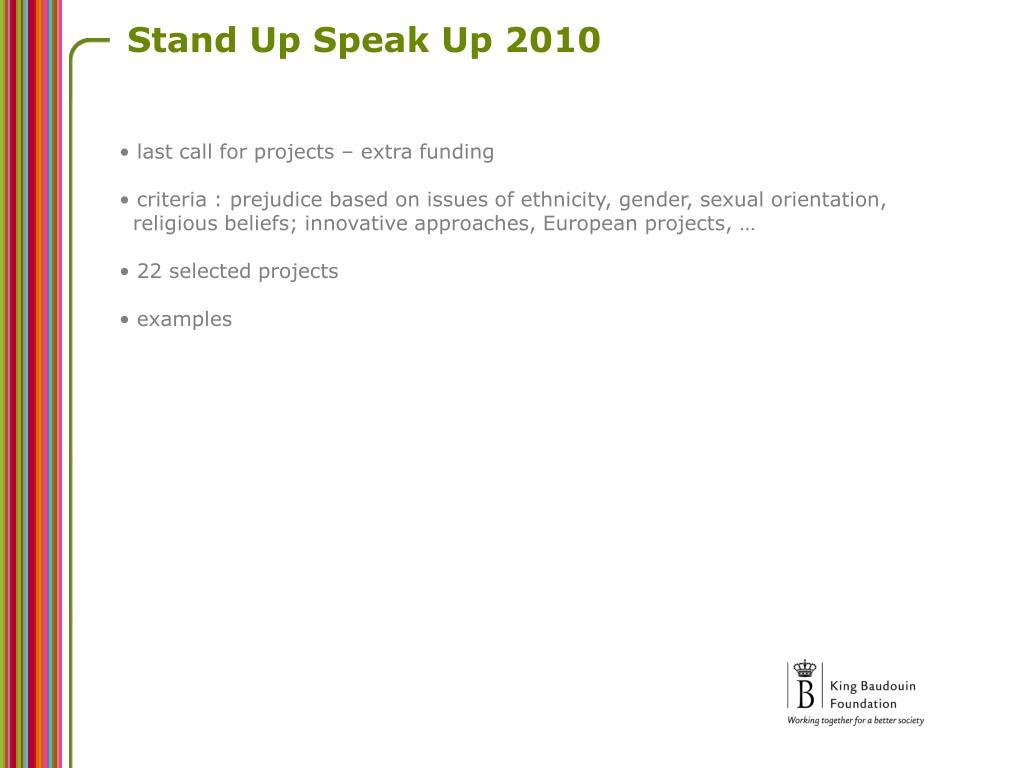 Stand Up Speak Up 2010