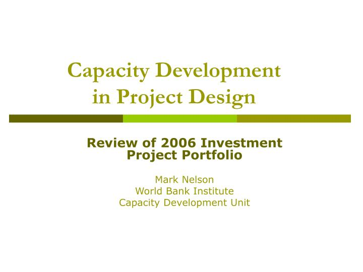 capacity development in project design n.