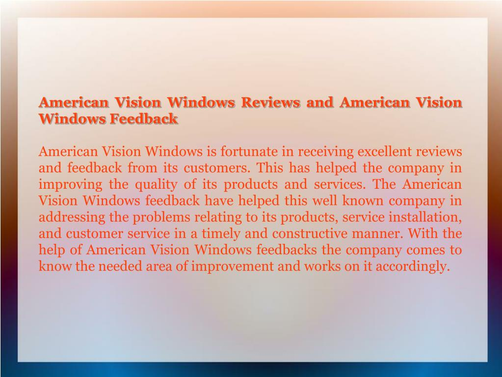 American Vision Windows Reviews and American Vision Windows Feedback