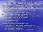 basic knowledge to use ict