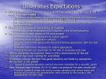 universities expectations
