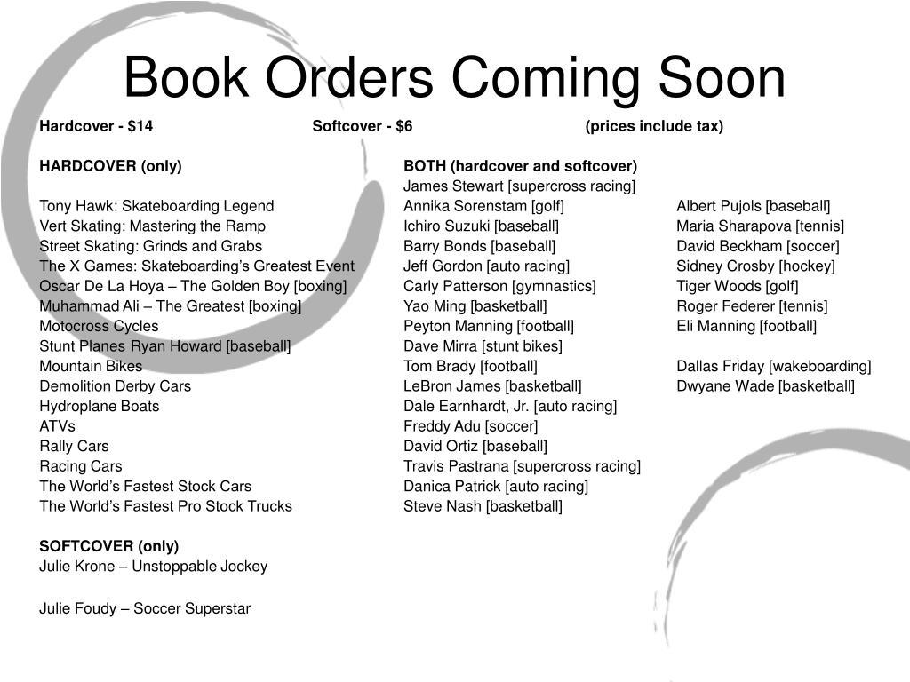 Book Orders Coming Soon