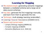learning for mapping
