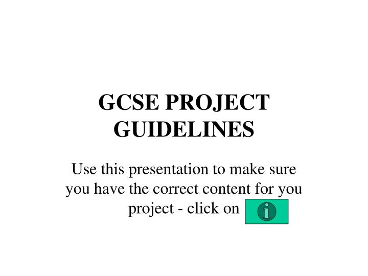 gcse project guidelines n.