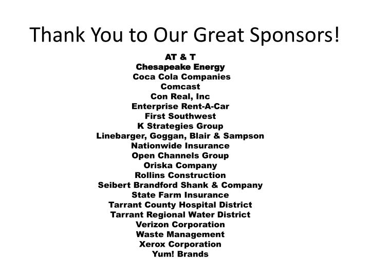 Thank you to our great sponsors