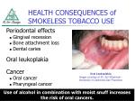 health consequences of smokeless tobacco use