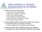 more intensive or tailored interventions may be needed