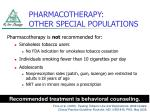 pharmacotherapy other special populations