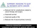 summary reasons to quit for patients with cancer