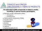 tobacco and cancer carcinogens in tobacco products