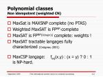 polynomial classes non idempotent weighted cn