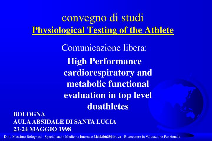 convegno di studi physiological testing of the athlete n.