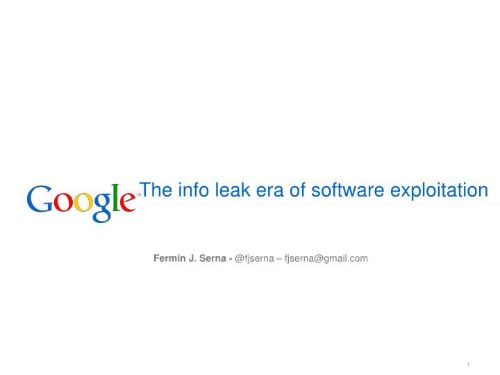 the info leak era of software exploitation n.