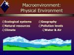 macroenvironment physical environment