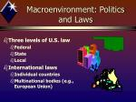 macroenvironment politics and laws1