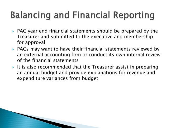 Balancing and Financial Reporting