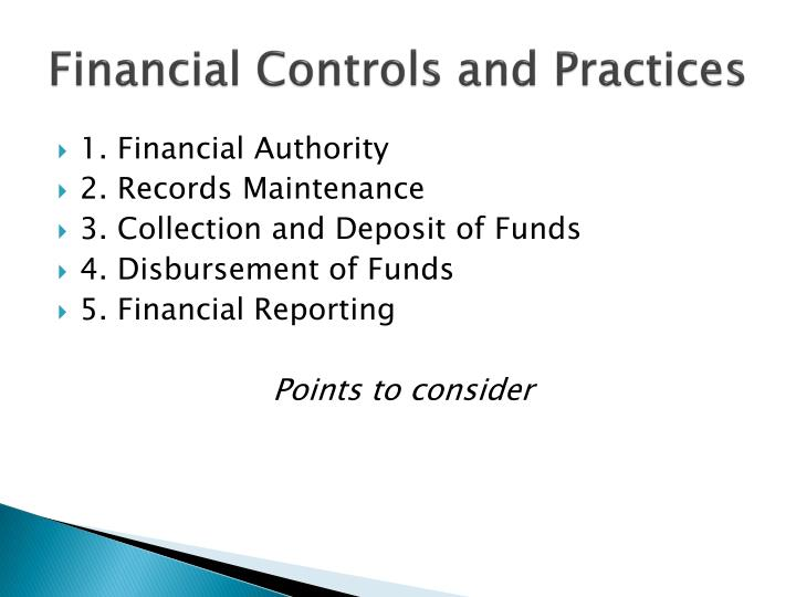 Financial Controls and Practices