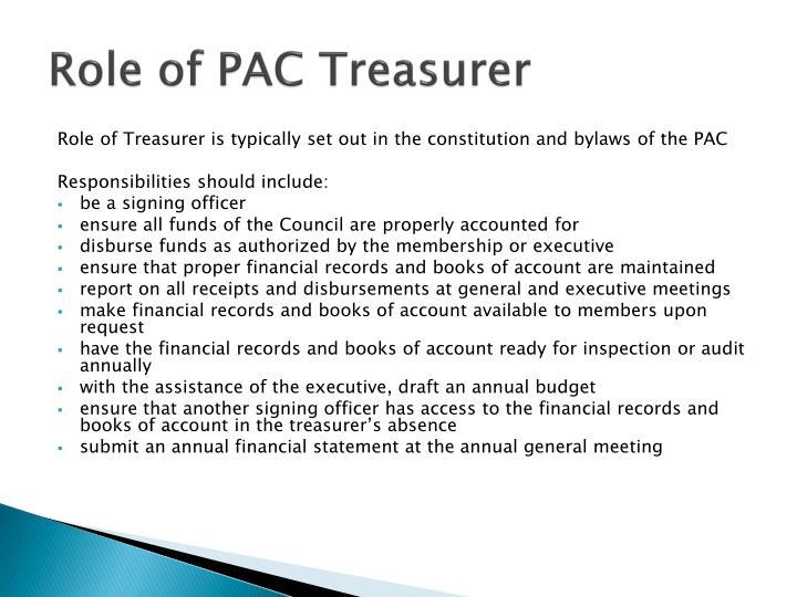 Role of PAC Treasurer