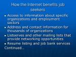 how the internet benefits job seekers