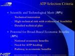 atp selection criteria
