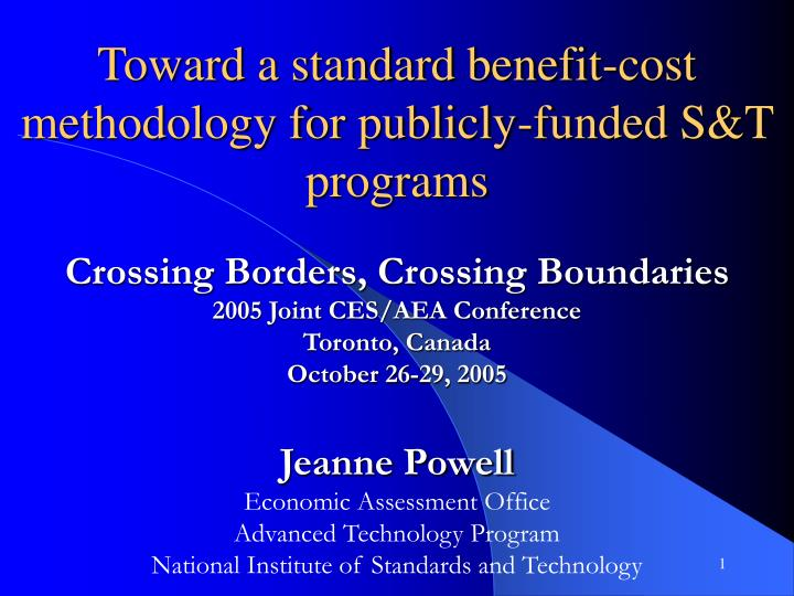 toward a standard benefit cost methodology for publicly funded s t programs n.