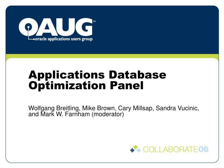 applications database optimization panel n.