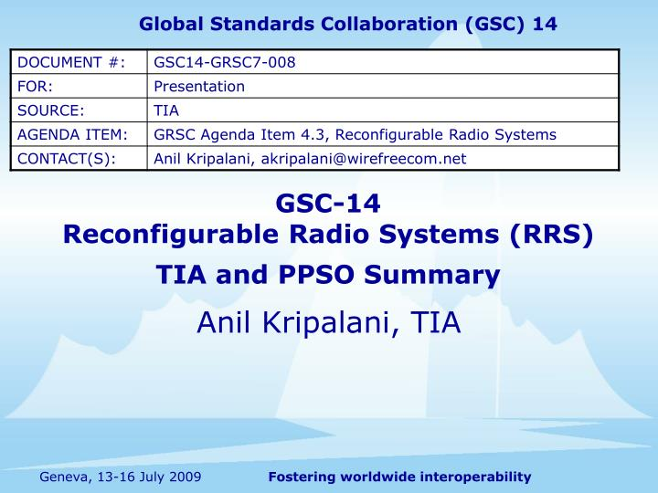 gsc 14 reconfigurable radio systems rrs tia and ppso summary n.