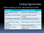 finding opportunities