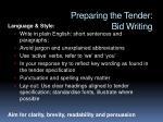 preparing the tender bid writing