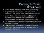 preparing the tender do s don ts