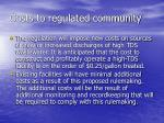 costs to regulated community