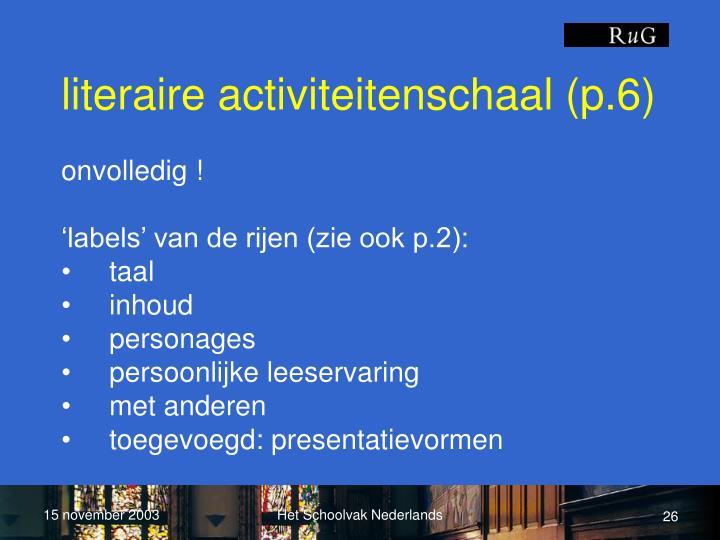 literaire activiteitenschaal (p.6)