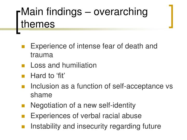 Main findings – overarching themes