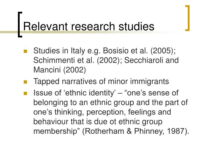 Relevant research studies